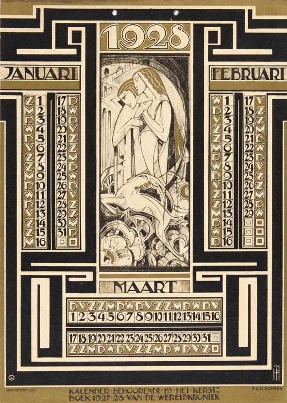 Art Deco Calendar : Art deco calendar by pieter hofman dutch book design