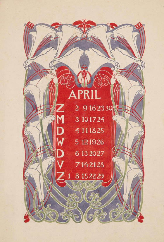 jugendstil_calender_bloem_blad_april_watercolor_anna_sipkema