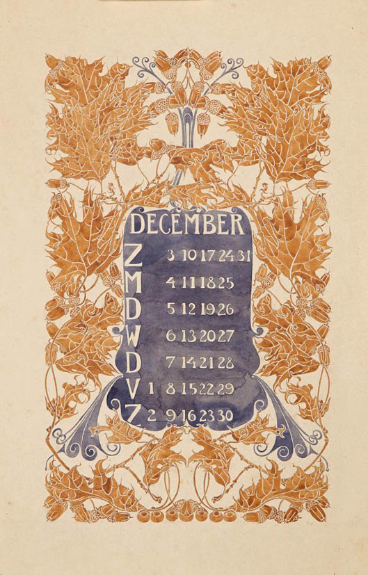 jugendstil_calender_bloem_blad_december_watercolor_anna_sipkema