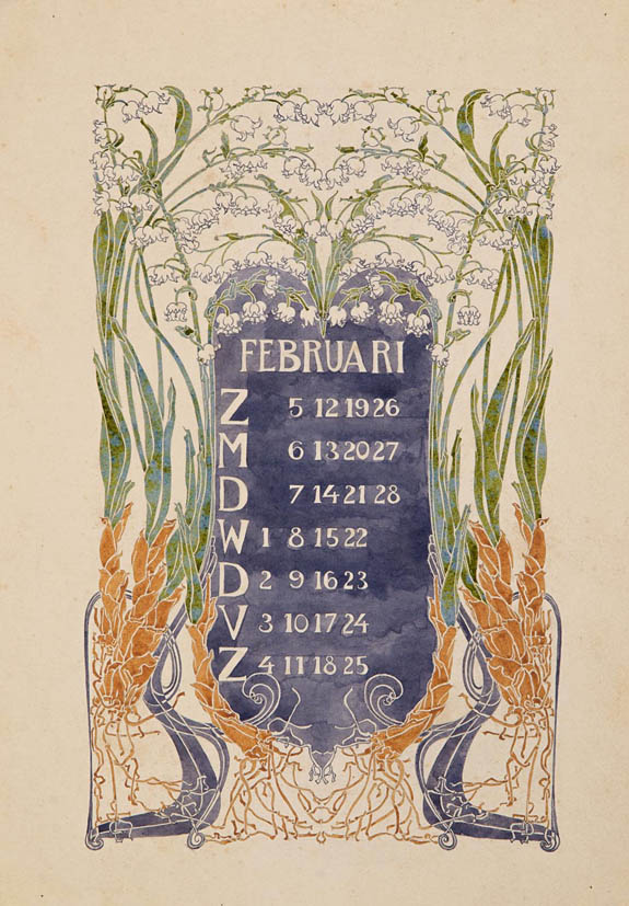 jugendstil_calender_bloem_blad_march_watercolor_anna_sipkema