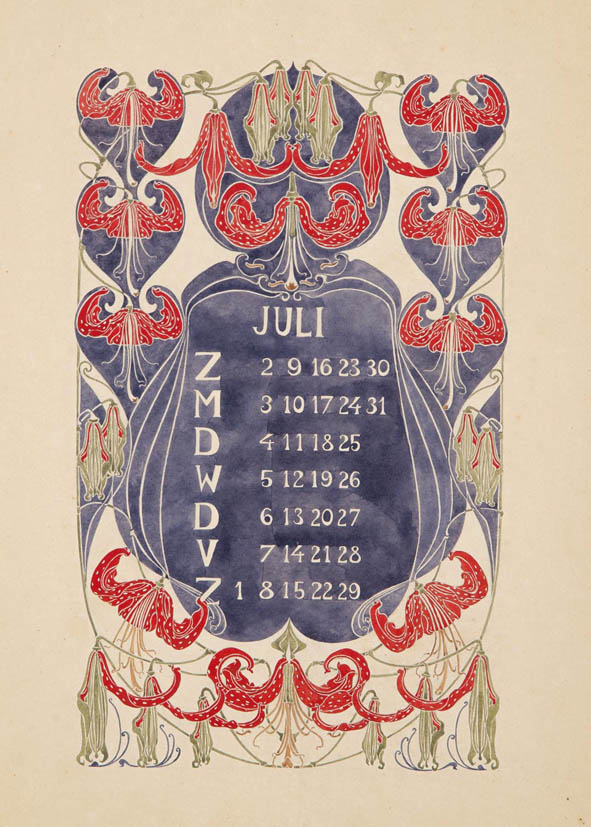 jugendstil_calender_bloem_blad_july_watercolor_anna_sipkema