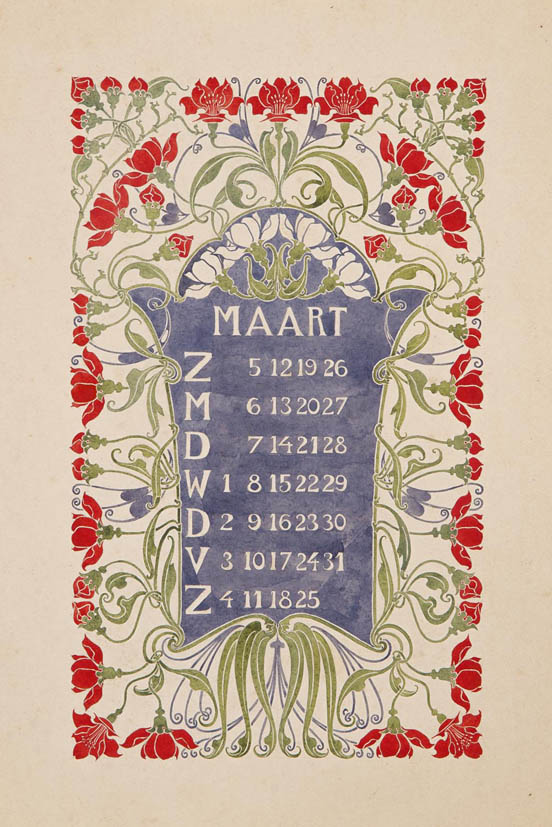 Original design drawing for a calender page (March 1905) by Anna Sipkema